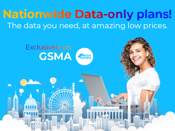 Nationwide data only plans on GSMA